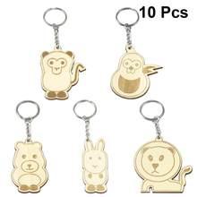 10 шт. креативный Деревянный Мини брелок в форме мультяшного животного, аксессуары, брелок для ключей, кольцо, подвесной кулон, подарок(Китай)