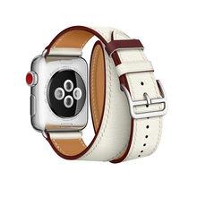 Ремешок для часов Apple Watch 5, 4, 3, 2, 1 с логотипом Herm на застежке, кожаный двойной ремешок для туров 44 мм, 40 мм, браслет для iWatch 44(Китай)