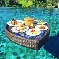 Swimming pool floating breakfast tray water basket rattan party serving tray