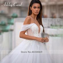 Милое Платье Эшли Карол, а-силуэта, для свадьбы, 2020, с кружевной аппликацией, на кнопках, платье принцессы, платье для свадьбы(China)