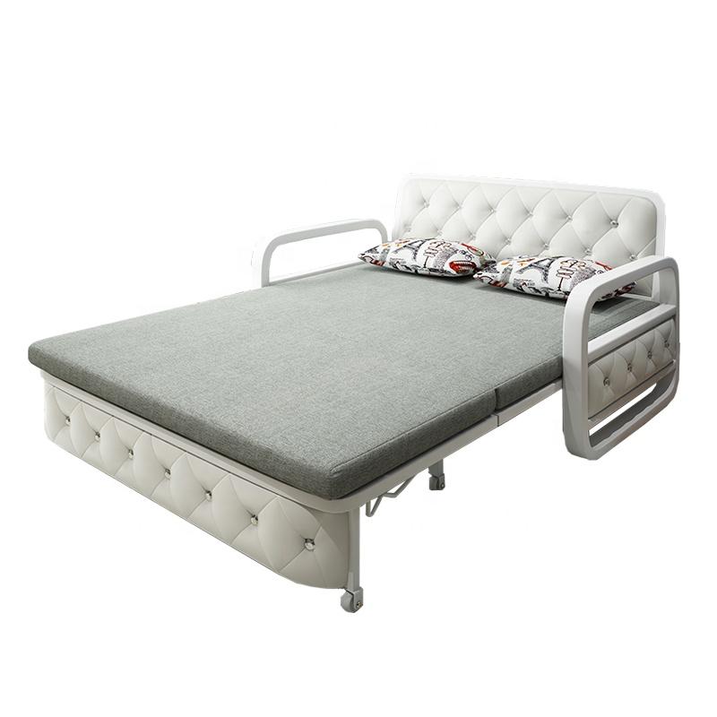 Save Space Multi-purpose Sofa Cum Bed Fabric Folding Chair Sleeper Living Room Metal Frame Sofa Bed