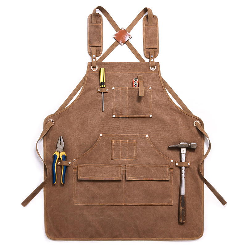 High-end Canvas Apron Custom Logo Wear-resistant Anti-fouling Thickening Barber Roasting Cafe Work Clothes Apron