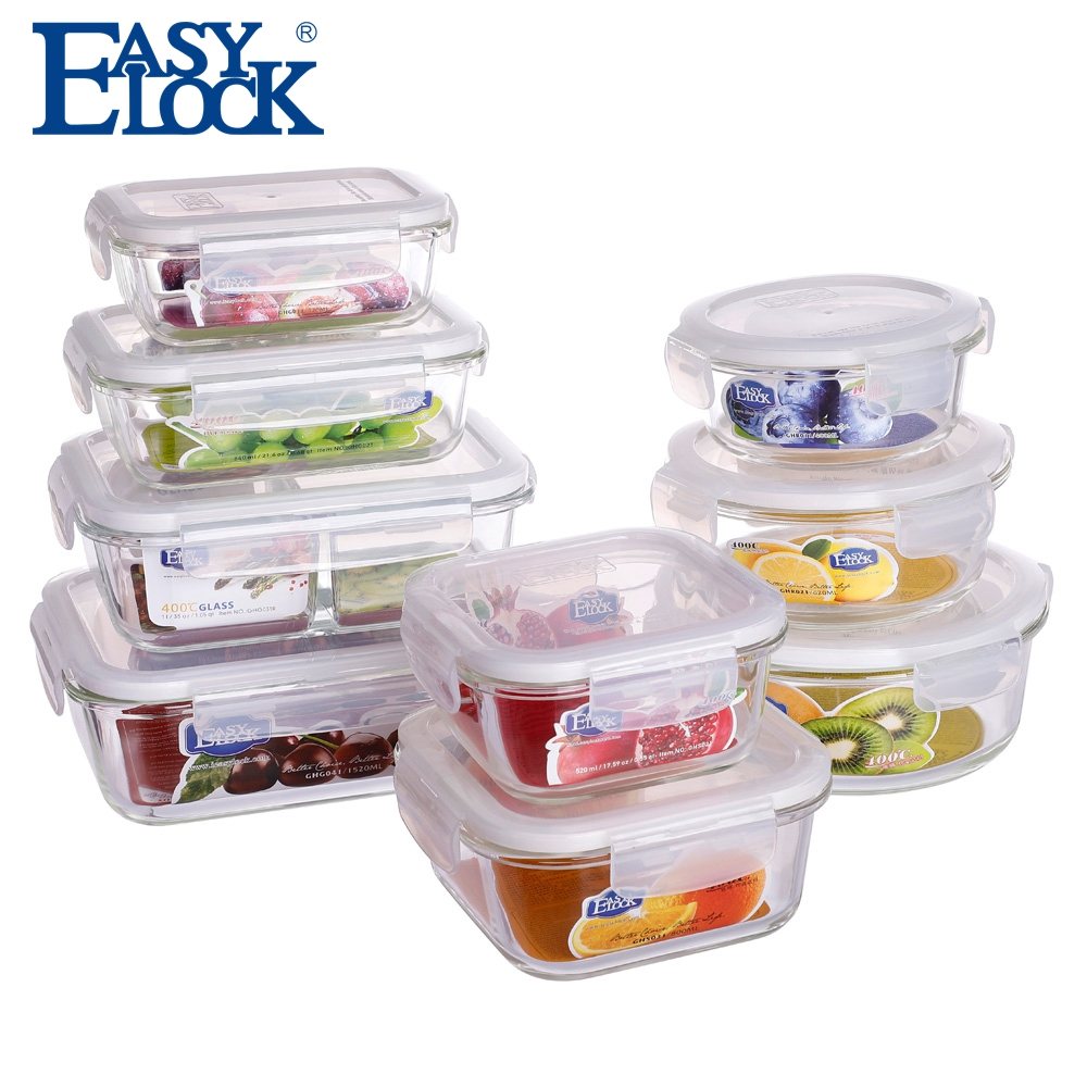 Stackable Wholesale Kitchen Airtight High Borosilicate Glass Food Storage Container with Locking Lid