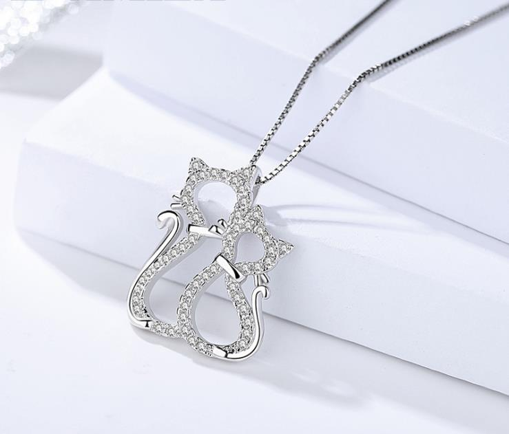 MOQ 1 Pieces Jewelry Manufacturer Two Cats 925 Sterling Silver Cat Pendant