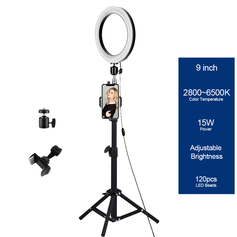 Amazon 9inch15w USB Beauty Video Studio Photo makeup Lamp 2700K-6500K Photography Ring Light Led With Tripod Stand for Live