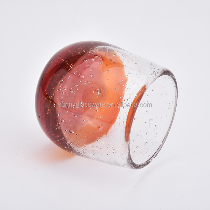 votive glass candle holders with air bubble finish
