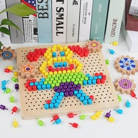 Children Wooden Mushroom Nail Combination Assembling Plate Baby Intellectual Development Wood 3D Puzzle DIY Toy