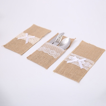 Factory Burlap Lace Utensil Holders Silverware Cutlery Pouch Knifes Forks Bag for Vintage Natural Wedding Table Decor