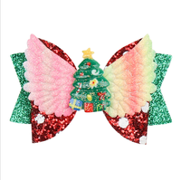 Handmade Angel Wings Hairpin Clip Girls Christmas tree pattern Princess Hair Bow Hair Accessories 2019 in stock