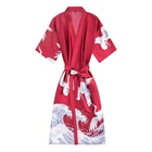 fancy women sexy satin print bridal kimono floral robe