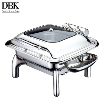 Guangzhou wholesale stainless steel 2/3 size induction chafing dish with glass lid chafing dish