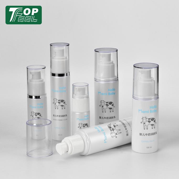 15ml 30ml 40ml Wholesale Round Transparent AS Airless kosmetische Plastikflasche mit Airless-Pumpendichtung