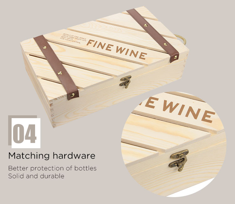 Factory Direct Wooden Wine Box for Gifts Pine Wood Double Bottle Wine Case Top Handle Hinged Lid Carrier