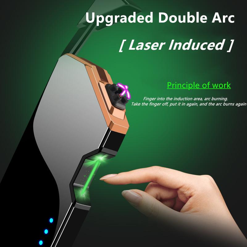 H09ec8be1532849e39d9d162fdbba4ab8Z - ไฟแช๊กไฟฟ้า พลาสม่า ไฟแช็กเลเซอร์ ไฟแช็คชาร์จแบต USB Electronic Plasma