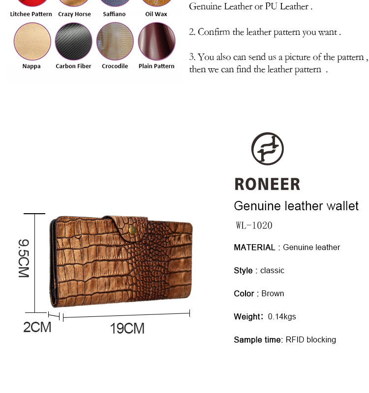 Roneer factory OEM high quality real leather RFID wallet card holder with phone pocket