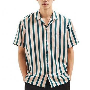 Satin button down shirt men short sleeve striped shirt