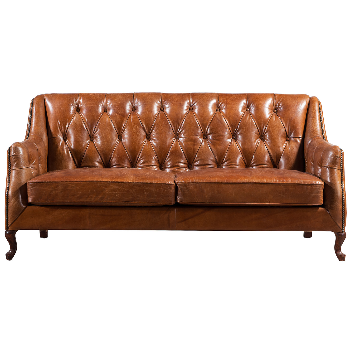 Brown Grain Leather Sofa Arm Covers