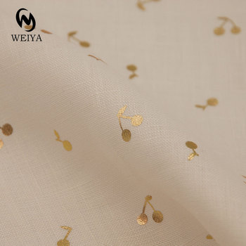 Fashionable beauty products 14*14 100% linen woven cherry gold foil print fabric