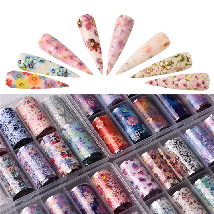 2020 NEW Nail Foil Transfer Sticker, Holographic Flower Nail Art  Tips Wraps ,Adhesive Transfer Foils for DIY Nail Decoration