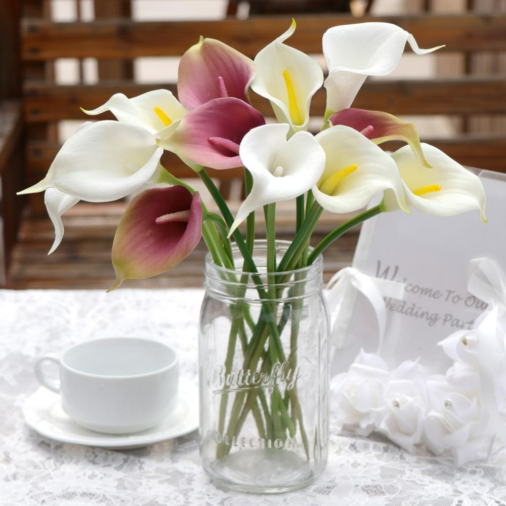 OurWarm Cheap Real Touch Latex Plastic <strong>Flowers</strong> Artificial Calla <strong>Flowers</strong> Bouquet For Home Table Wedding Party Decoration
