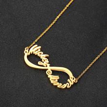 Персонализированное ожерелье Vnox 2/3/4 с именем Бесконечность с сердцем, Чокеры для женщин, персонализированная семейная табличка, любовные п...(Китай)