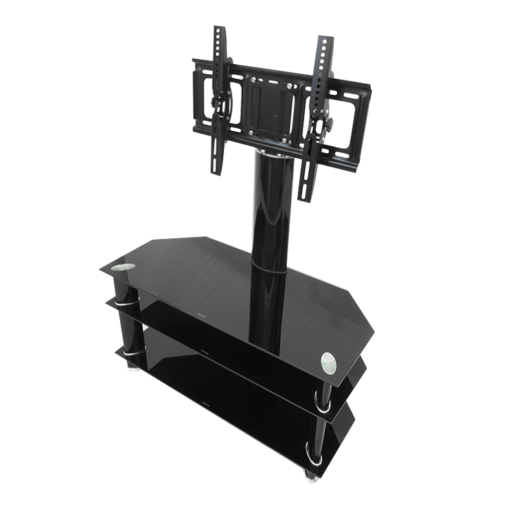 Wholesale commercial tv stand for 65 inch tempered glass industrial metal tv stand