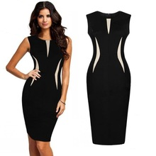 Mode Frauen Ärmelloses Schlank Bodycon Prom Party Cocktail Abend Bleistift Kleid