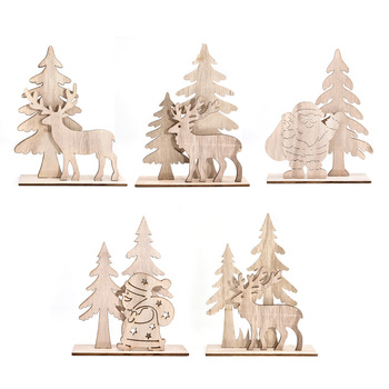 New Style Wooden Christmas Ornament Santa Clause Wooden Craft for Xmas Decoration 2020 Christmas Decoration Supplies
