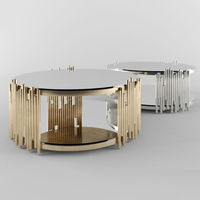 High Fashion Stainless Steel Living Room Round Coffee Table Furniture In Gold or Silver