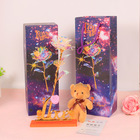 Flower 2020 High Quality Foil Dipped Plated Galaxy Rose Anniversary Engagement Valentines Gifts 24 K Flower With Plush Bear