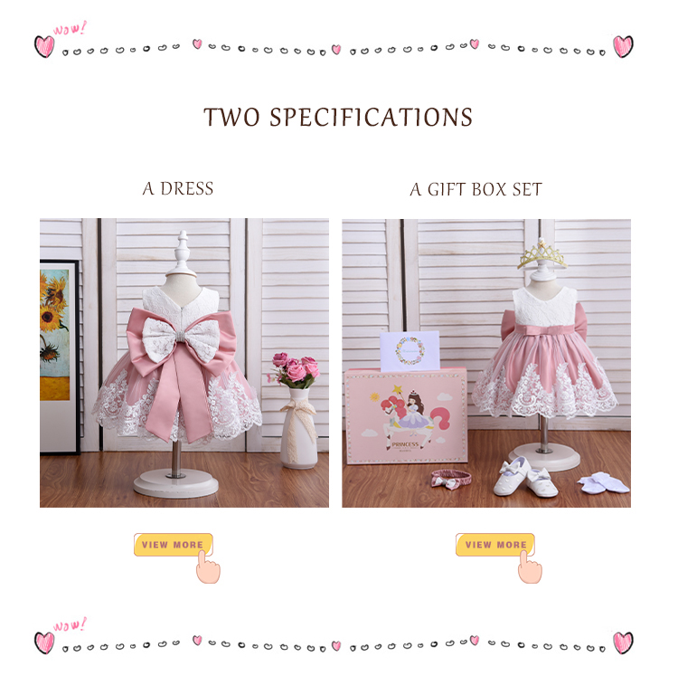 Yoliyolei European Style Children Clothes Christening Big Bow Flower Girl Birthday Dresses Baby Girl Princess Dress For Party