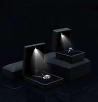 Hot Sales Custom Black Flip Magnetic Luxury Holiday Surprise Jewelry Box Packaging Display With LED Lights