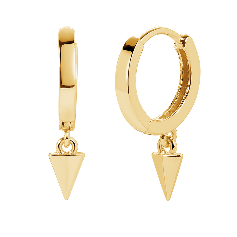 Forewe Classical 14k Gold Vermeil 925 <strong>Sterling</strong> <strong>Silver</strong> Huggies Pyramid <strong>Drop</strong> Hoop <strong>Earrings</strong> for women
