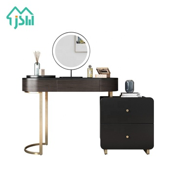 Fashionable Modern Bedroom Black Dressing Table Furniture With Mirror And Stool
