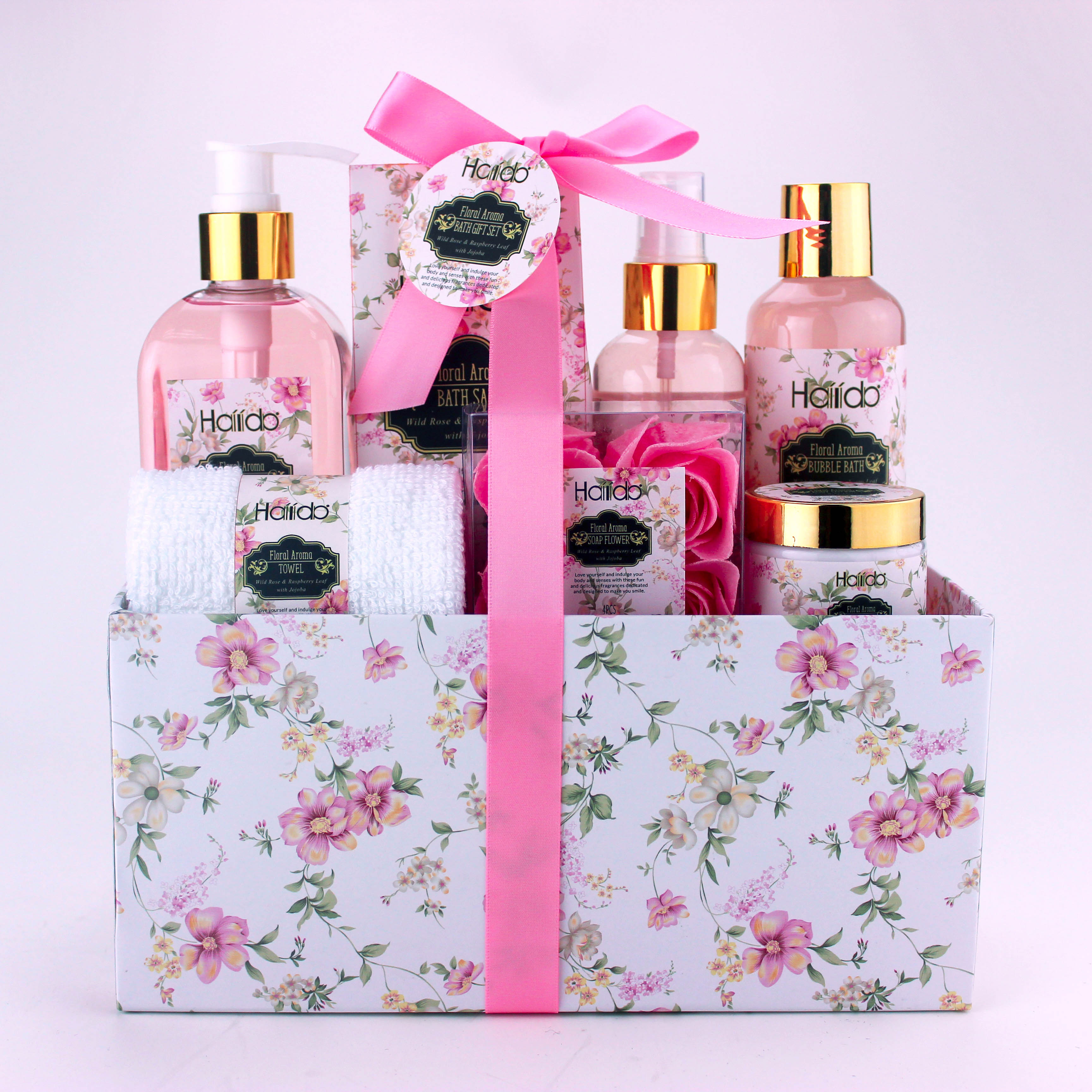 Wholesale flamingo label moisturize body care spa wire basket bath and body gift set