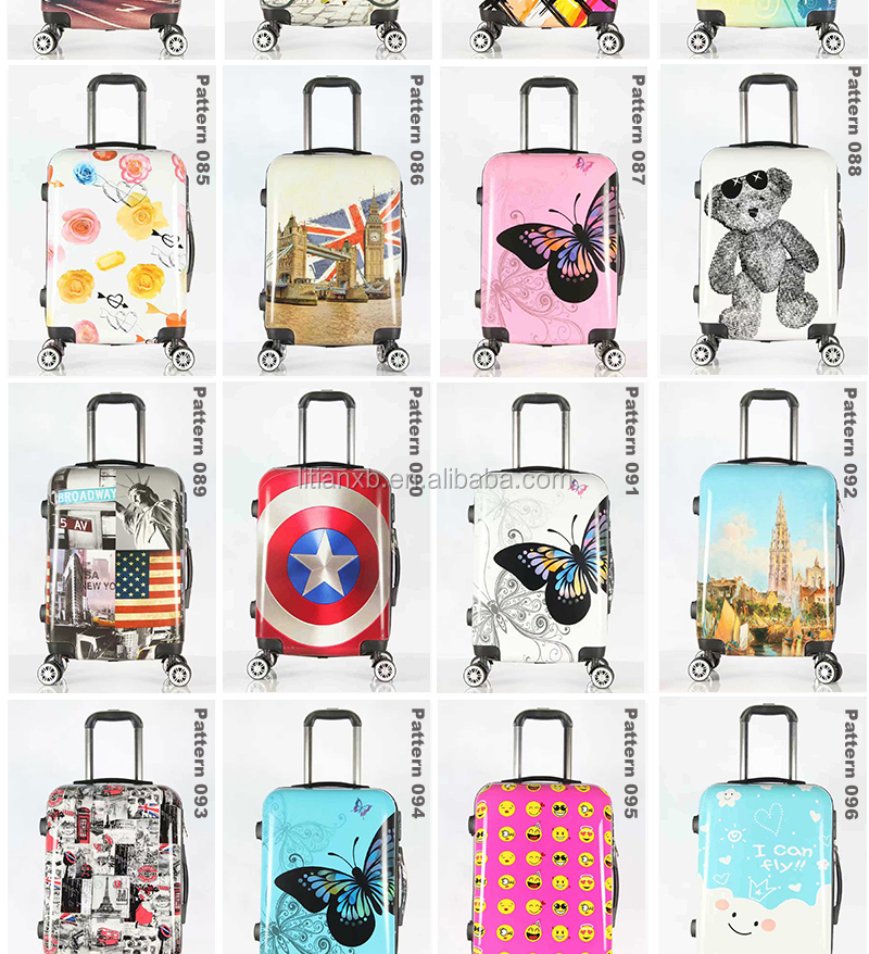 Hot sales Colorful pattern cute trolley caster suitcase/travel luggage board chassis lockbox 20-inch 24-inch men and women