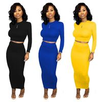 9S03445 hot onsale multi color sexy crop top bodycon skirt Trendy Two Piece Ladies Set