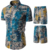 Casual Wear new design turn-down collar short sleeve slim fit plus size men floral shirt match shorts set