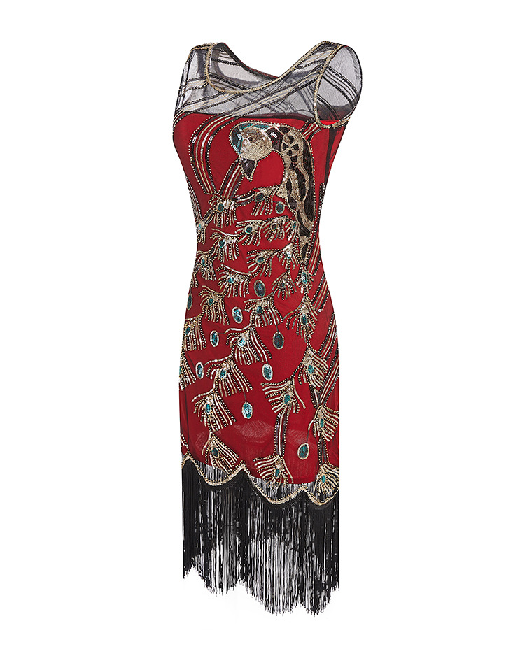 Ecoparty Art Deco Great Gatsby Party <strong>Dress</strong> <strong>Inspired</strong> Tassel Beaded 1920s Flapper <strong>Dress</strong> Hollywood Evening Costume <strong>Dress</strong>