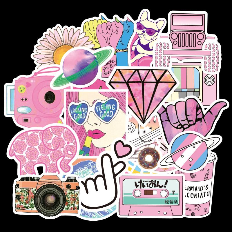 50pcs vsco Sticker Waterproof Cute pink girl heart Vinyl teen stickers Pack for Water Bottle Suitcase
