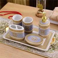 European home H ceramic 5/6pcs bathroom mug cup lovers set with tray modern porcelain bathroom accessory sets