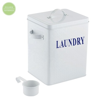 Metal Vintage Laundry Powder Storage Tin Laundry Bin For Household