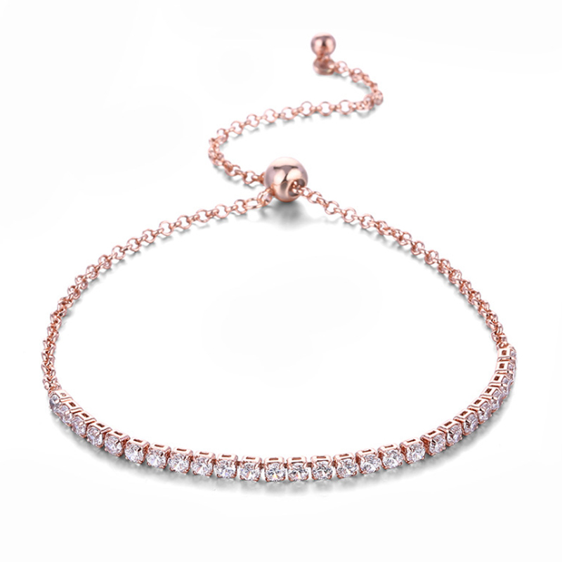 Rose Gold Plated Stretch <strong>Tennis</strong> <strong>Bracelet</strong> Austrian <strong>CZ</strong> Cubic Zircon Crystal Diamond Adjustable <strong>Bracelet</strong> For Women