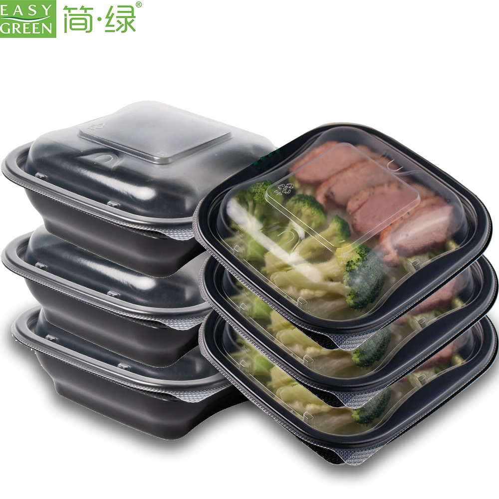 Disposable OEM restaurant take away plastic pp microwavable food container with lid