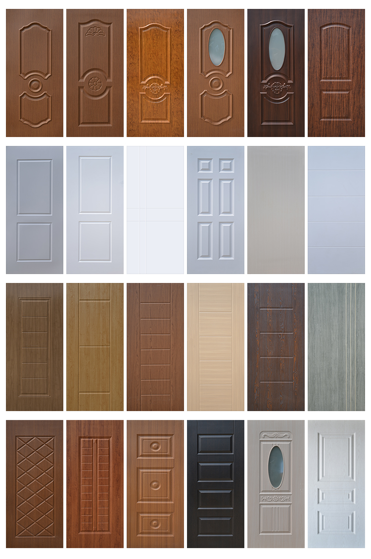 China Factory New design molded PVC/WPC sheet wood door panel/skin with cheap price