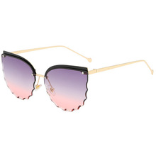Blume Rand Frauen Gradienten Metall Randlose Retro Cat Eye Sonnenbrille Shades Brille Benutzerdefinierte