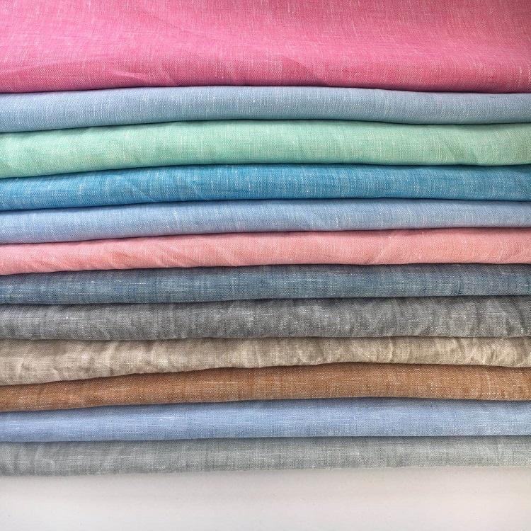 Verschiedene farbe garn gefärbt plain stil gewaschen türkei reine 100% leinen stoff für bekleidung