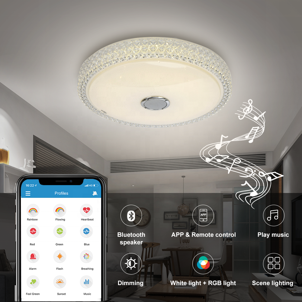 Smart Led ceiling light bluetooth speaker music 36W home hotel indoor RGB decorative light fixtures app control ceiling lamp