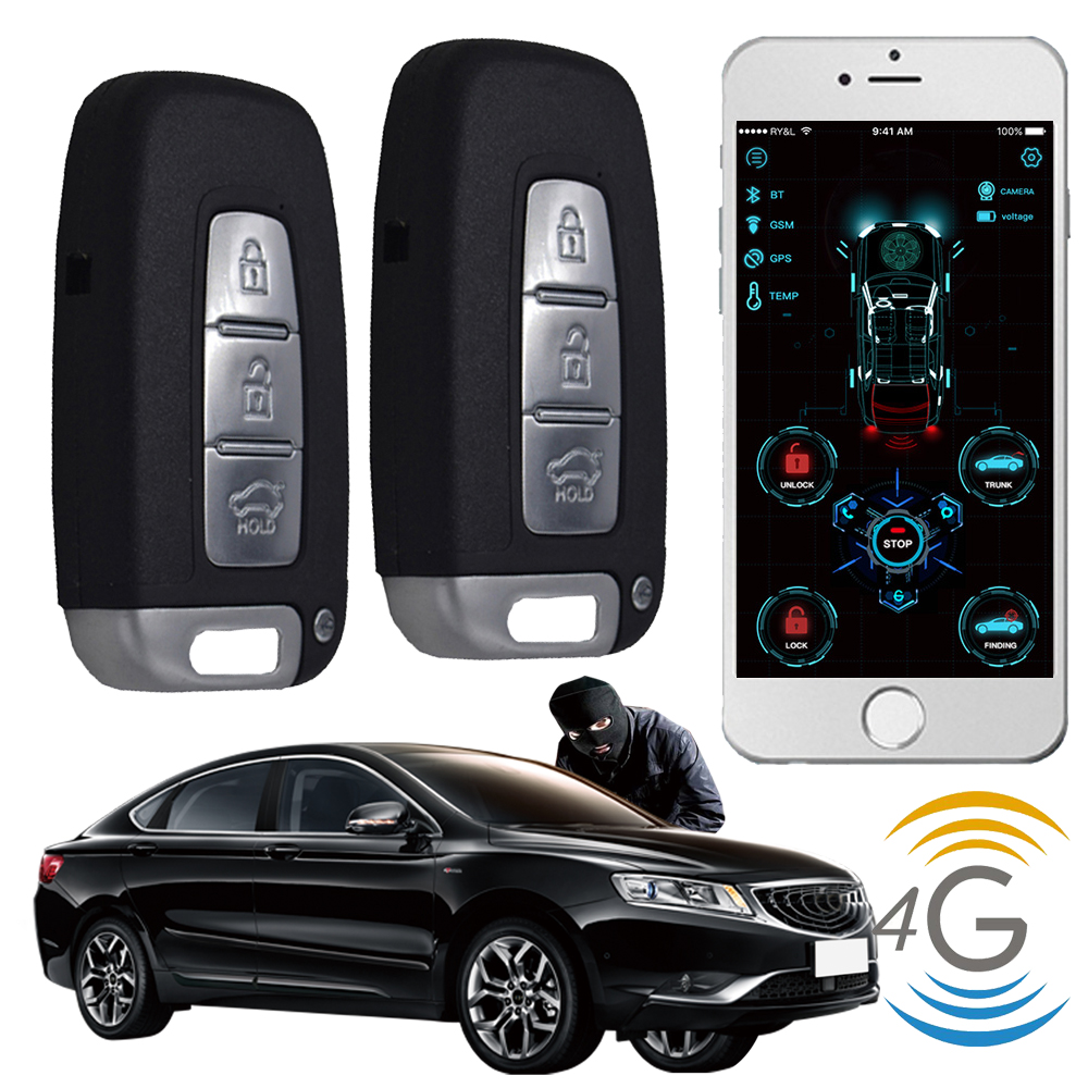 4g Dispositivo de Rastreamento Gps Universal Push Botton Start Keyless Entry Sistema de Alarmes de Carro