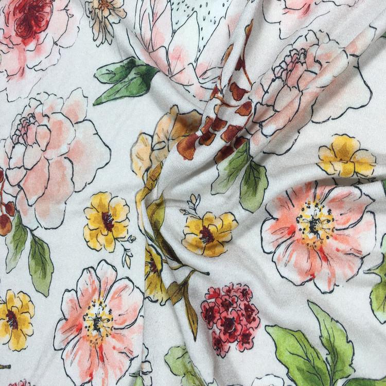 Hot Dijual 95/5 Digital Kustom Pencetakan Lycra Katun Jersey Knit Fabric untuk Wanita Gaun